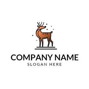 Brown Sika Deer Icon logo design