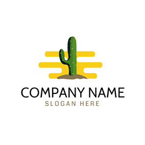 Brown Soil and Green Cactus logo design