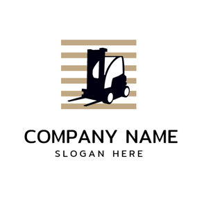 Brown Square and Black Forklift logo design