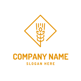 Brown Square and Rice Ears logo design