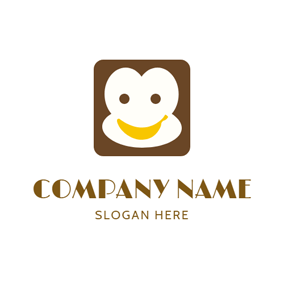 Brown Square and White Banana logo design