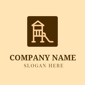 Brown Square Children Slide logo design