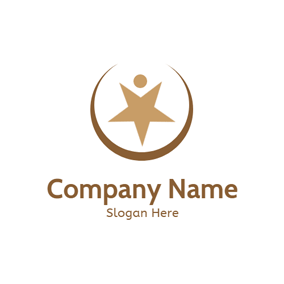 Brown Star and Success logo design