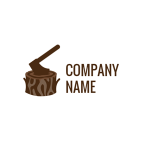 Brown Stump and Axe logo design