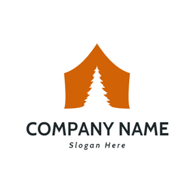 Brown Tent and White Tree logo design