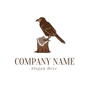 Brown Timber Pile and Raven logo design