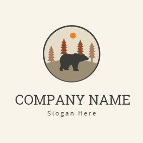 Brown Tree and Black Bear logo design