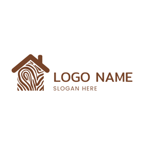 Brown Tree and House logo design
