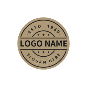 Brown Vintage Circle Stamp Postmark logo design