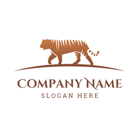 Brown Walking Tiger logo design
