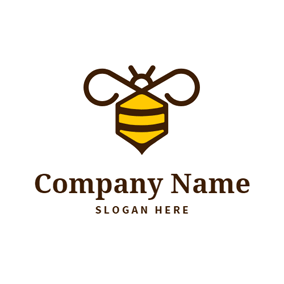 Brown Wing and Flat Bee logo design