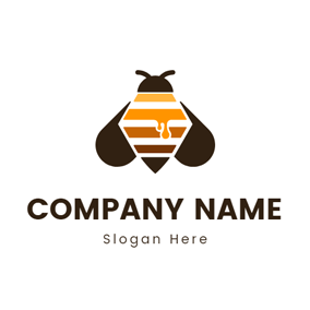 Brown Wing and Geometric Bee logo design