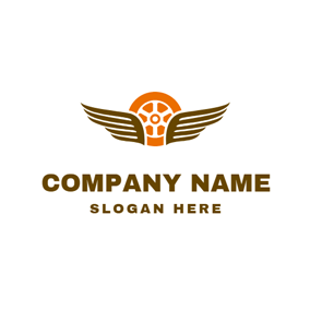Brown Wing and Orange Tire logo design