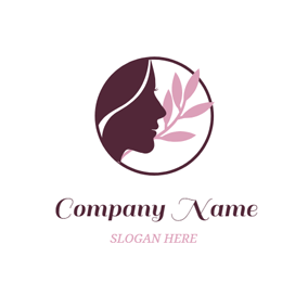 Brown Woman Head and Pink Leaf logo design