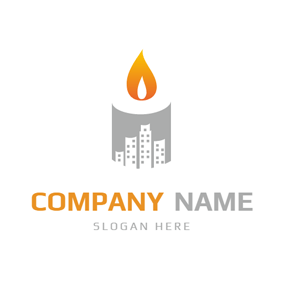 Building and Candle Icon logo design