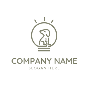 Bulb Shape and Dog logo design
