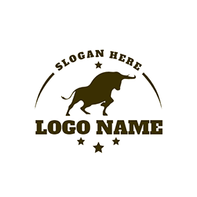 Bull Bullfight Simple Rodeo logo design