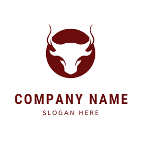 Bull Head Outline Rodeo logo design