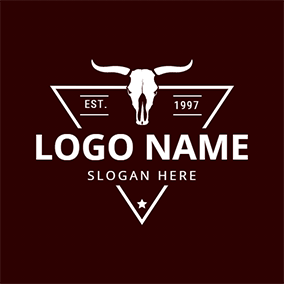 Bull Head Triangle Rodeo logo design