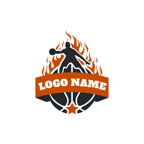 Burning Fire and Basketball logo design