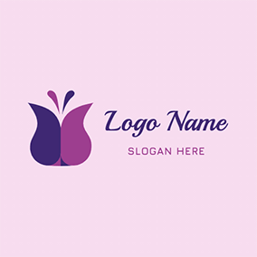 Butterfly Shape Tulip logo design