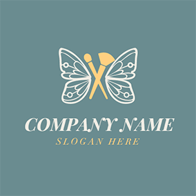 Butterfly Wing and Cosmetic Brush logo design