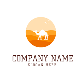 Camel Bird and Desert logo design