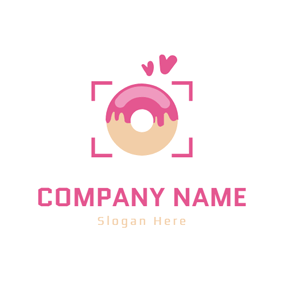 Camera Lens and Doughnut logo design