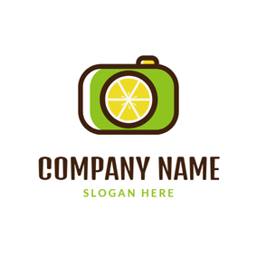 Camera Shape and Lemon logo design