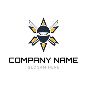 Cartoon Assassin Face and Crossed Knife logo design