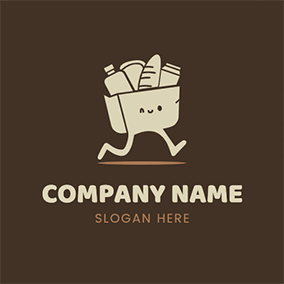 Cartoon Delivery Food Grocery logo design