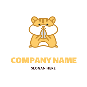 Cartoon Standing Cute Hamster logo design