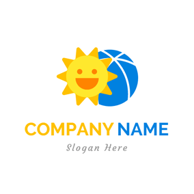 Cartoon Sun and Blue Ball logo design