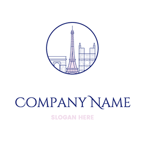Cartoon Tower In Circle Paris logo design