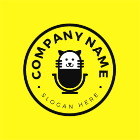 Cat Face and Microphone logo design