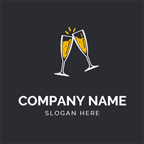 Champagne Glass Cheers logo design