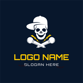 Cheerful Skeleton and Hat logo design