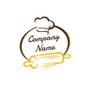 Chef Cap and Bread Tool logo design