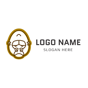 Chocolate and Brown Gorilla Head logo design