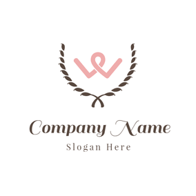 Chocolate and Pink Letter W logo design