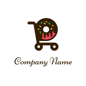 Chocolate Donut and Trolley logo design