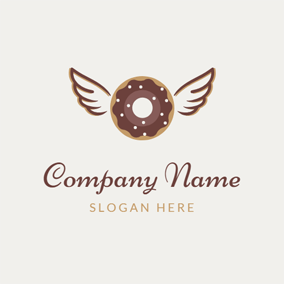 Chocolate Wing and Doughnut logo design
