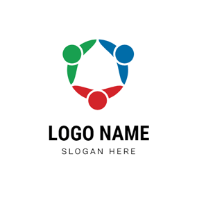 Circle and Abstract Person logo design