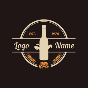 Circle and Beer Bottle logo design