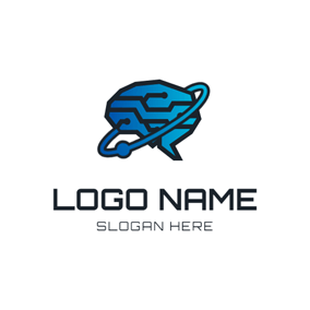 Circle and Brain Icon logo design