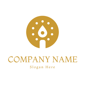 Circle and Candle Icon logo design