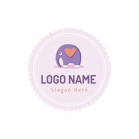Circle and Cartoon Elephant Slide logo design