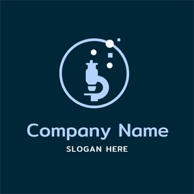 Circle and Chemical Microscope logo design