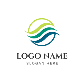 Circle and Flowing Stream logo design