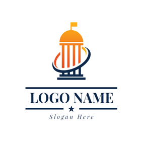 Circle and Government Building logo design